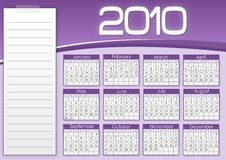 Purple calendar 1010. With notes stock illustration