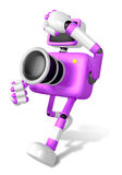 A purple Camera Character and a boxing play. Create 3D Camera Ro Royalty Free Stock Image