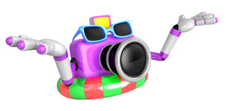 Purple Camera Character dip tube ride. Create 3D Camera Robot Se Royalty Free Stock Photography