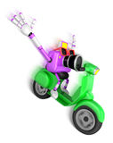 Purple camera character driving a motor cycle with fast speed. C Stock Images
