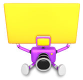 Purple Camera Character up yellow board a thing with both hands. Royalty Free Stock Images