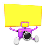 Purple Camera Character up yellow board a thing with both hands. Stock Images