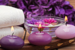 Purple candles and flowers in spa setting (1) Royalty Free Stock Images