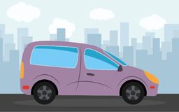 Purple car in the background of skyscrapers in the afternoon. Vector illustration Stock Images