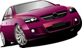 Purple  car sedan on the road Stock Photography