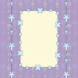 Purple card rectangle. Purple card with floral ornament and beads Stock Photo