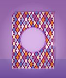 Purple Card in Rhombus Pattern Stock Photos
