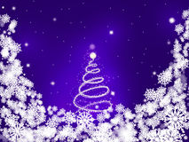 Purple card with a shiny snowy tree in the center surrounded by snowflakes Royalty Free Stock Photography
