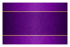 Purple card with vintage pattern and golden label Stock Photo