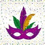Purple carnival mask and colorful feathers with confetti background. Vector illustration Stock Photography