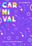 Purple carnival poster. abstract memphis 80s, 90s style retro background with place for text. Royalty Free Stock Images
