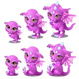 Purple cartoon dragon of different ages, growth, sits, stands. Fairy animal for animation, childrens illustrations Stock Photo