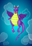 Purple cartoon dragon Royalty Free Stock Photo