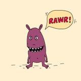 Purple cartoon monster is angry. Stock Photo