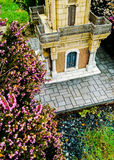 Purple castle clock green stone Stock Photo