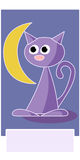 The Purple Cat. A bookmark showing a purple cat with black eyes staring at the moon on a dark sky Royalty Free Stock Photos