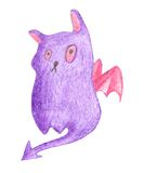 Purple cat monster with wings Royalty Free Stock Photography