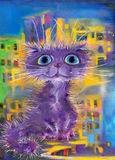 Purple cat Royalty Free Stock Images