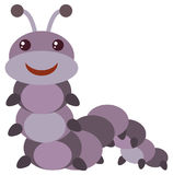 Purple caterpillar with happy face. Illustration Royalty Free Stock Image