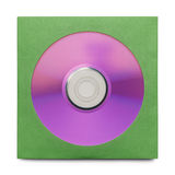Purple CD With Case. Purple Disc in Green Case Isolated on a White Background Stock Image