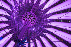 Purple ceiling of sony center Berlin. At night stock photo