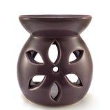 Purple ceramic vase aromatherapy candle isolated Royalty Free Stock Image
