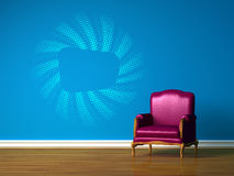 Purple chair in blue  interior Stock Photo
