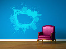 Purple chair in blue interior Stock Photography