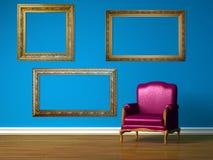 Purple chair in blue minimalist interior Stock Photography