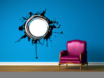 Purple chair in blue minimalist interior Royalty Free Stock Photography