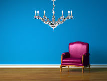 Purple chair in blue minimalist interior Stock Photos