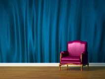 Purple chair in  minimalist interior Royalty Free Stock Photography