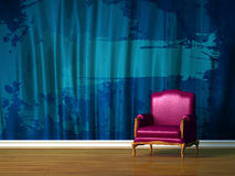 Purple chair in minimalist interior Stock Photo