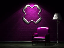 Purple chair with standard lamp and empty frame Royalty Free Stock Images