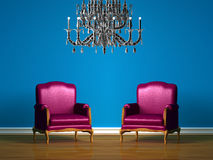 Purple chairs in blue minimalist interior Royalty Free Stock Images