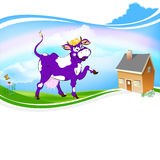 A purple cheerful cow Royalty Free Stock Photography