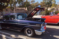 Purple 1957 Chevrolet Bel Air. Laguna Beach, CA, USA - October 2, 2016: Purple 1957 Chevrolet Bel Air owned by David Lockwood and displayed at the Rotary Club of Stock Photos
