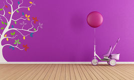 Purple child room. With tricycle and colorful tree on wall Royalty Free Stock Photo