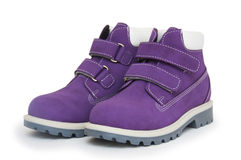Purple children`s boots Royalty Free Stock Image