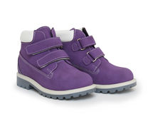 Purple children`s boots Stock Photo