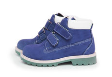 Purple children`s boots Royalty Free Stock Images