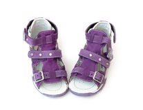 Purple Children's sandals Royalty Free Stock Images