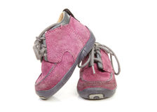 Purple children's shoes worn Royalty Free Stock Images