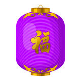 Purple chinese paper lantern icon, cartoon style Royalty Free Stock Photos