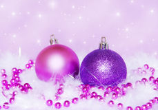 Purple christmas. Decoration with starry background Royalty Free Stock Photo