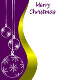 Purple Christmas Background. An abstract Christmas card illustration with clear white outline baubles on a purple backdrop with room for text on white space vector illustration