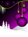 Purple Christmas Background. An abstract Christmas card illustration with clear white outline baubles on a purple backdrop with room for text on white space royalty free illustration