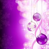 Purple christmas background with decorations. Shiny purple Christmas background decorated with three hanging baubles, ribbons and sparks royalty free illustration