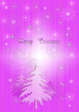 Purple Christmas background with firs and snowflakes Royalty Free Stock Photography
