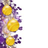 Purple Christmas background with hung yellow baubles. Decorative balls elements for holiday design. Vector. Illustration royalty free illustration
